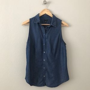 Ann Taylor Denim Buttoned Collared Sleeveless Top